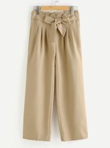 Self Belt Scallop Waist Culotte Pants