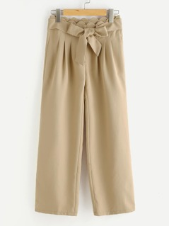 Self Belt Scallop Waist Culotte Pants