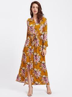 Flower Print Self Tie Bishop Sleeve Shirt Dress