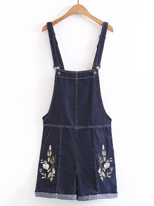 Rolled Hem Embroidery Denim Overall Romper