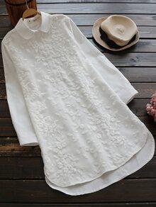 Floral Embroidered Dip Hem Shirt Dress