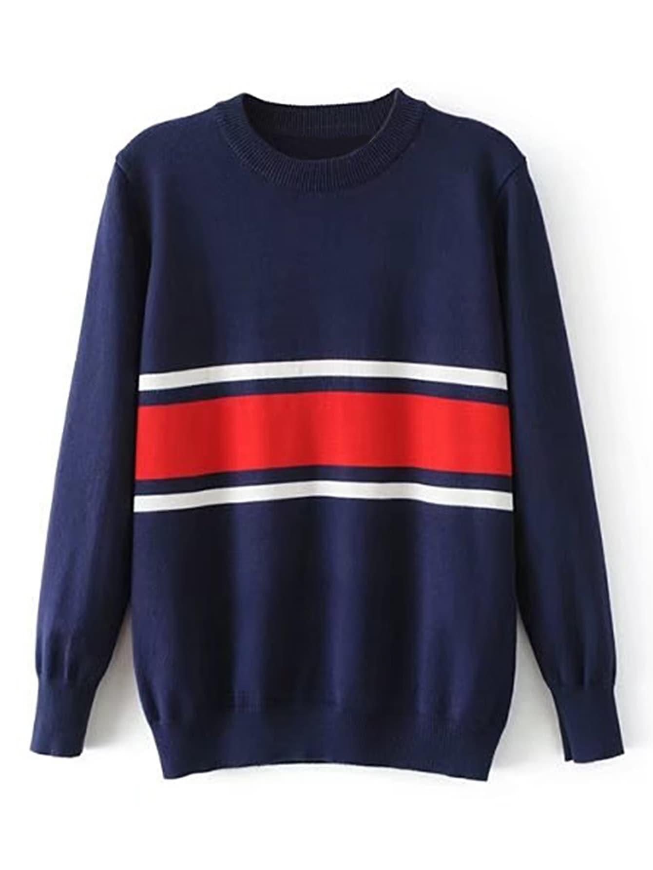 Wide Striped Ribbed Trim Sweater RKNI170731203