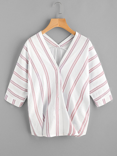 Batwing Sleeve Striped Blouse