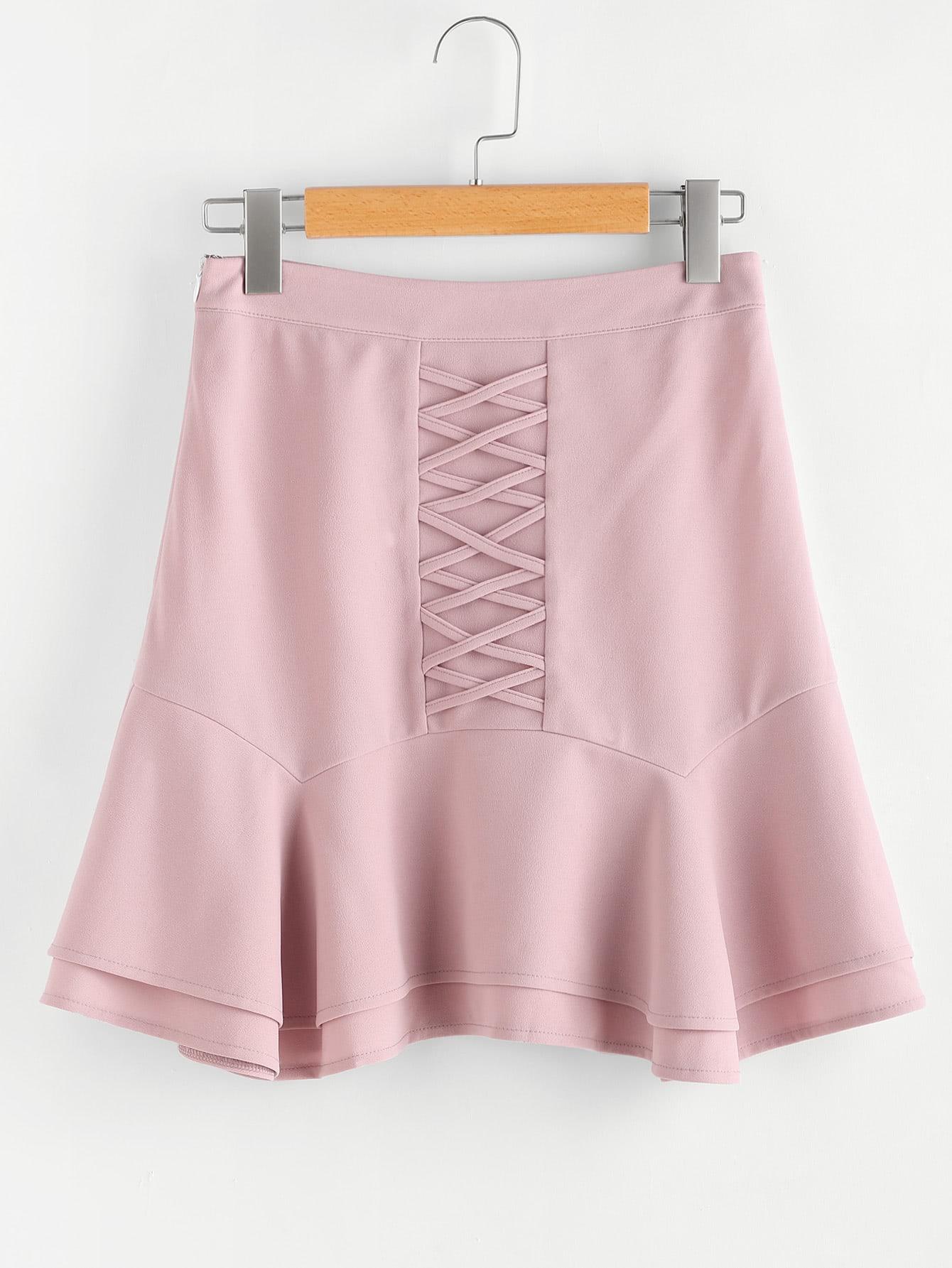 Фото Crisscross Front Layered Flared Hem Skirt. Купить с доставкой