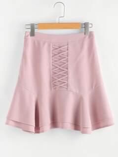 Crisscross Front Layered Flared Hem Skirt