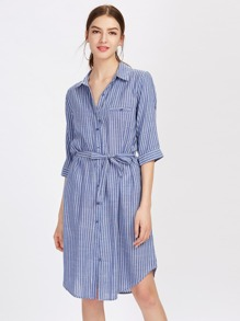 Vertical Striped Curved Hem Shirt Dress