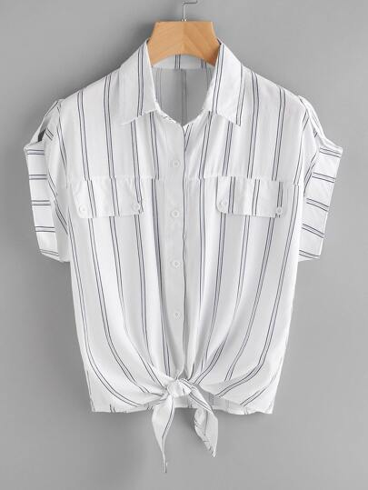 Roll-Up Sleeve Knotted Hem Striped Shirt