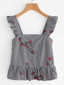 Ruffle Strap Blossom Embroidered Checkered Pinafore Top