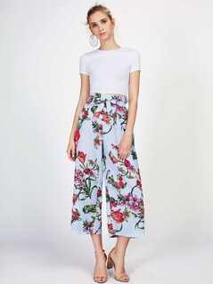 Self Tie Mixed Print Culotte Pants