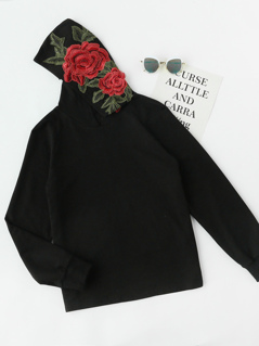 3D Flower Embroidery Applique Hoodie