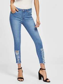 Slashed Frayed Hem Jeans