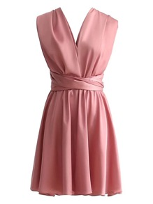 Criss Cross Knot Back Pleated Dress