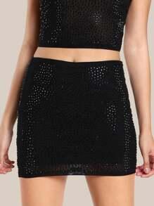 Diamond High Rise Skirt BLACK