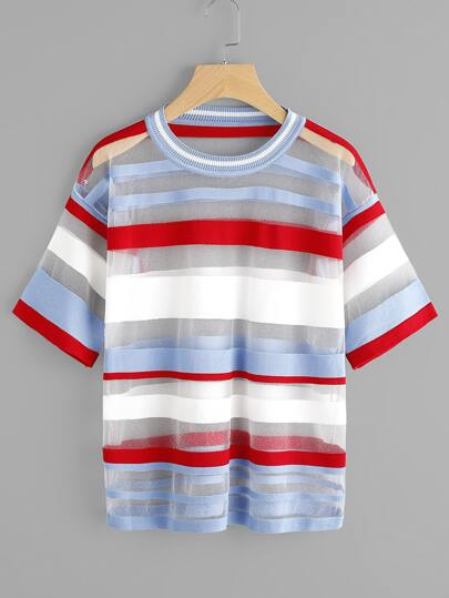 See-Through Wide Stripe Knit Tshirt