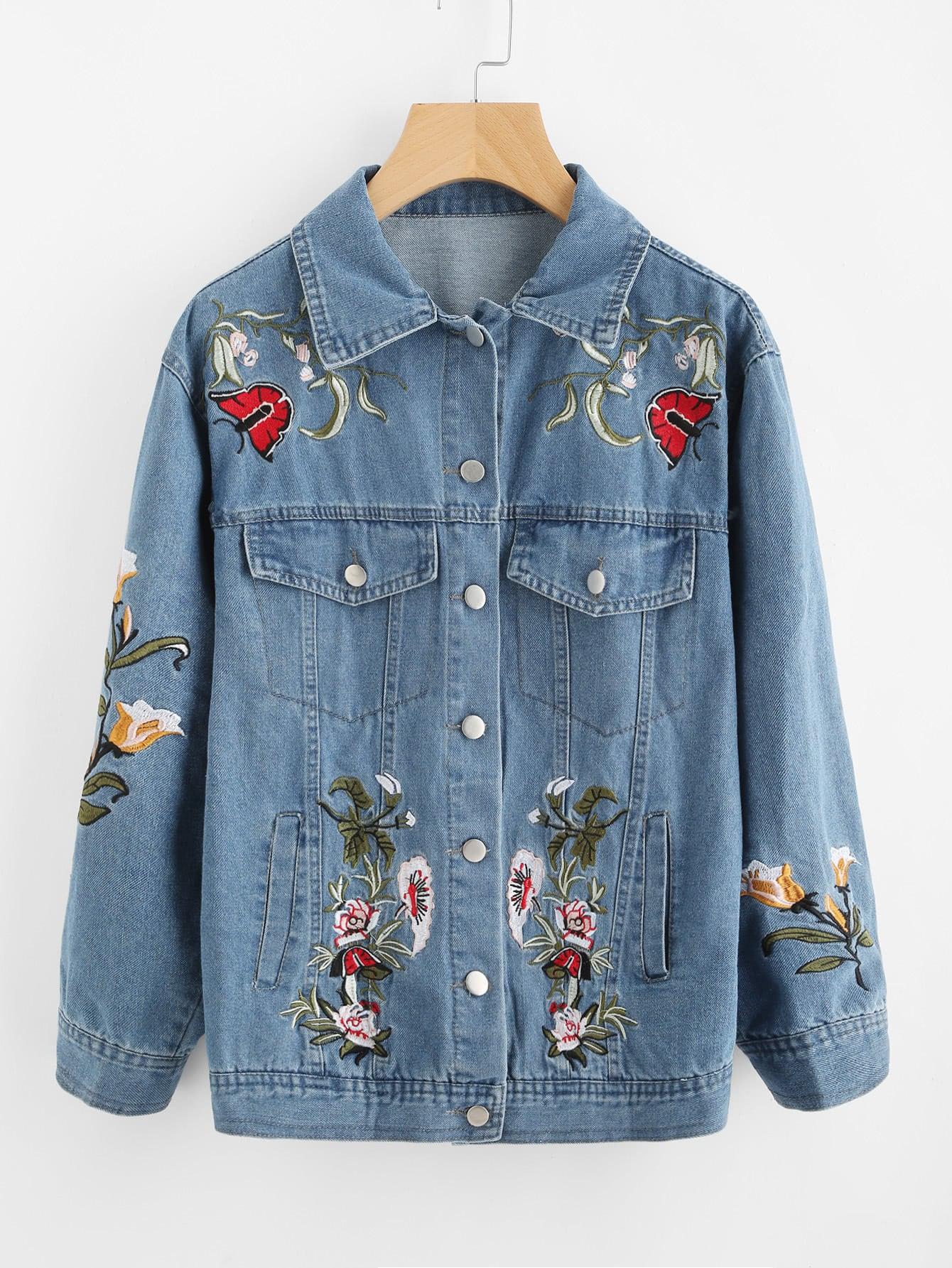 Фото Flower Embroidered Denim Jacket. Купить с доставкой