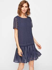 Pleated Hem Mixed Stripe Dress
