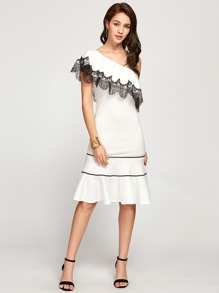 Contrast Lace Trim Flounce One Shoulder Dress