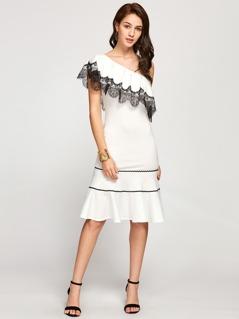 Contrast Lace Trim Flounce One Shoulder Dress