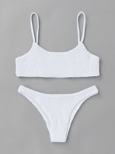 Spaghetti Strap Shirred Bikini Set