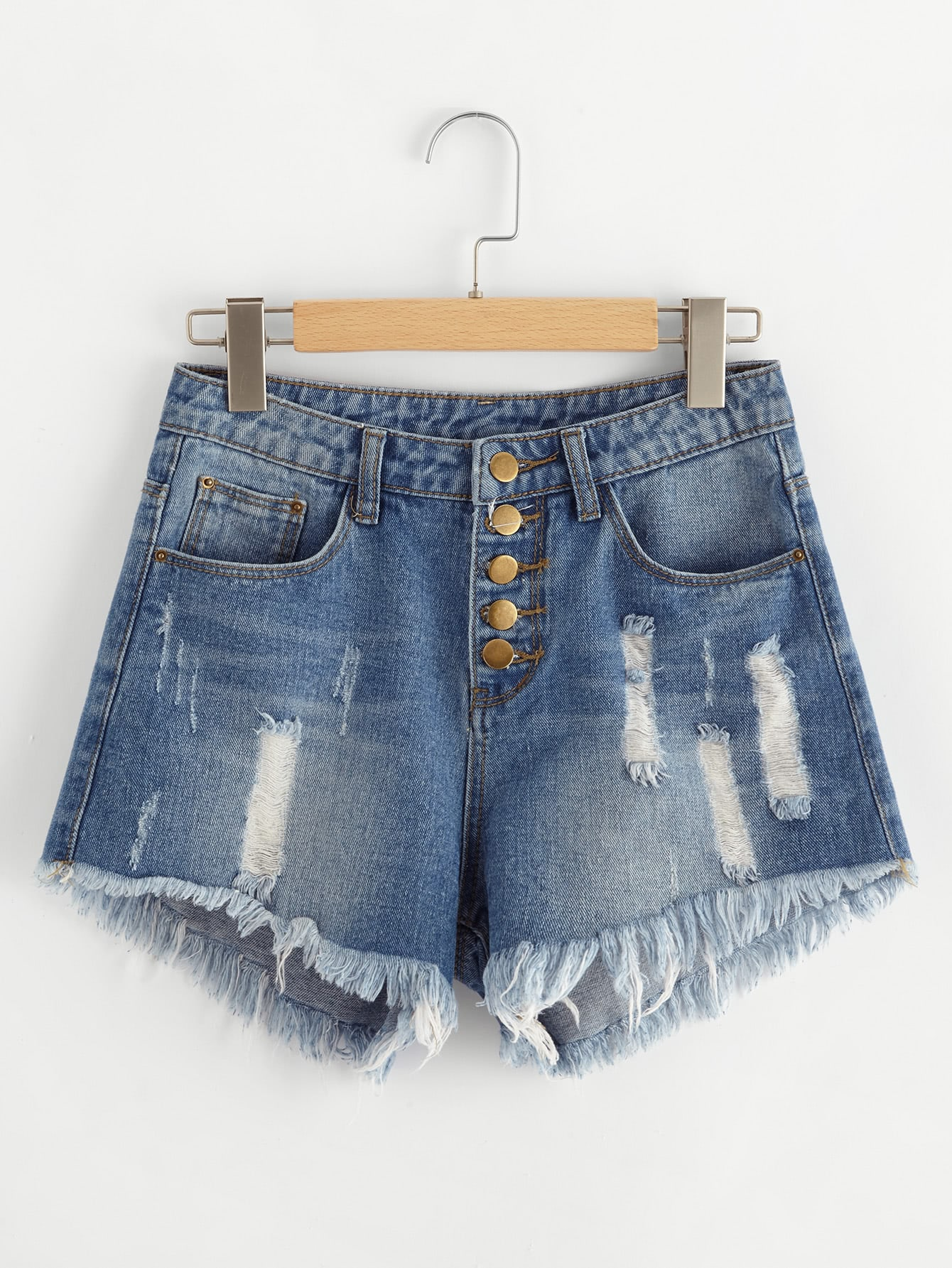 Фото Buttoned Front Destroyed Denim Shorts. Купить с доставкой