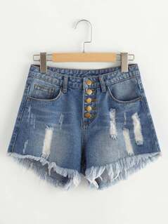 Buttoned Front Destroyed Denim Shorts