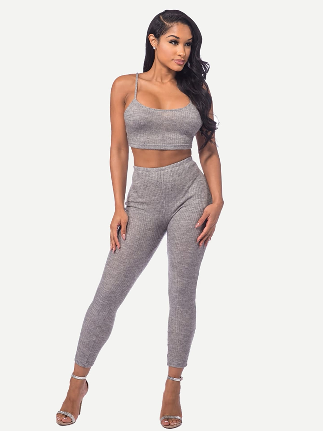 Marled Knit Crop Cami Top With Leggings twopiece170703303