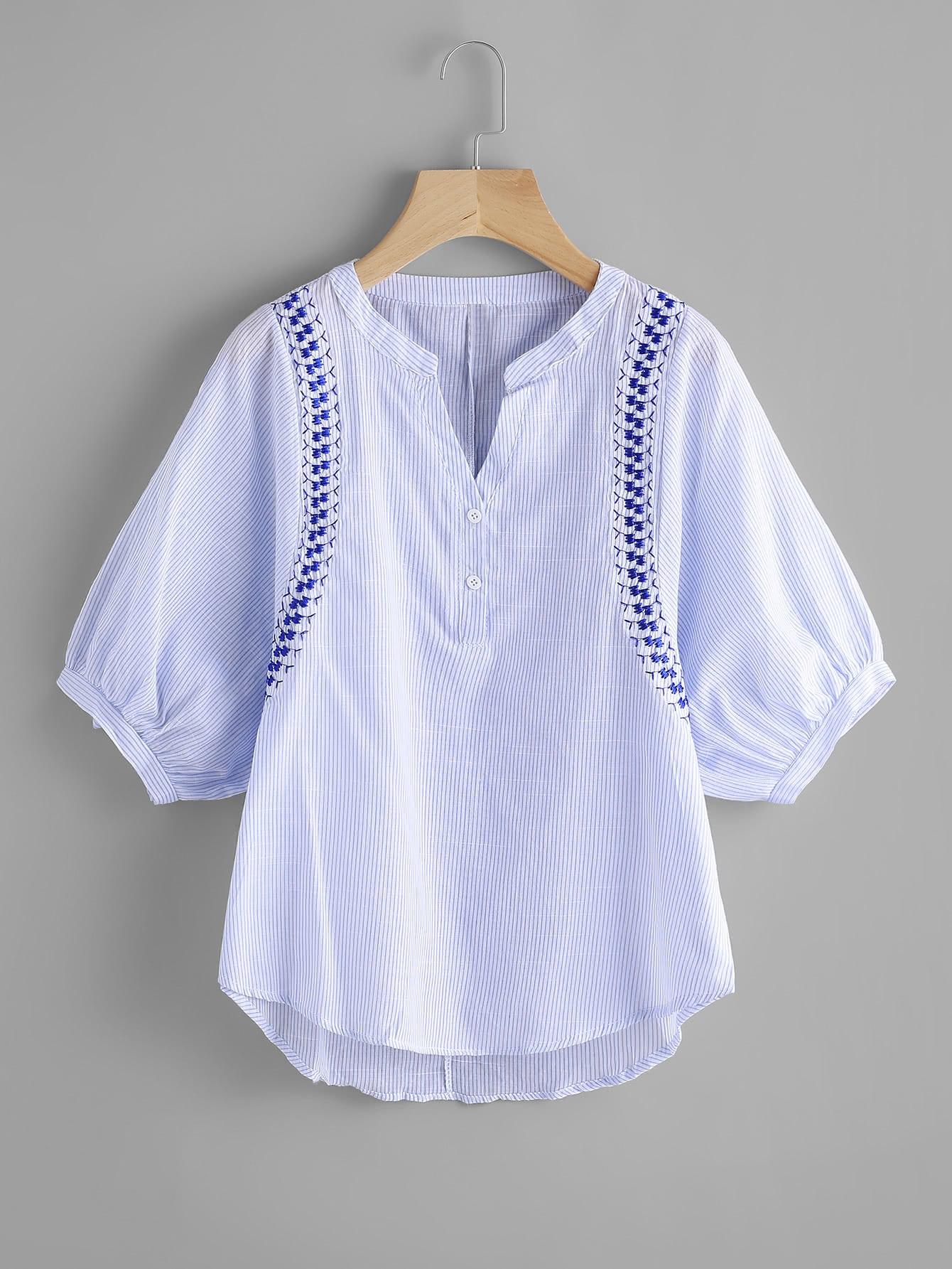 Фото Vertical Striped Embroidery Lantern Sleeve Blouse. Купить с доставкой