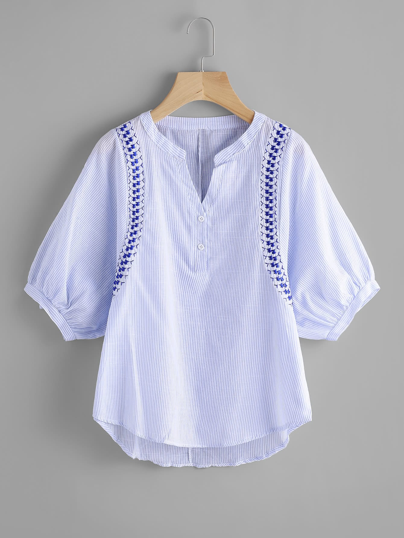 Vertical Striped Embroidery Lantern Sleeve Blouse blouse170704106