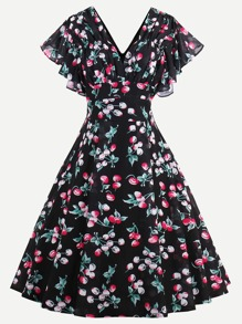 Double V Butterfly Sleeve Cherry Print Circle Dress