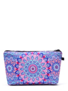 Symmetrical Flower Print Makeup Bag