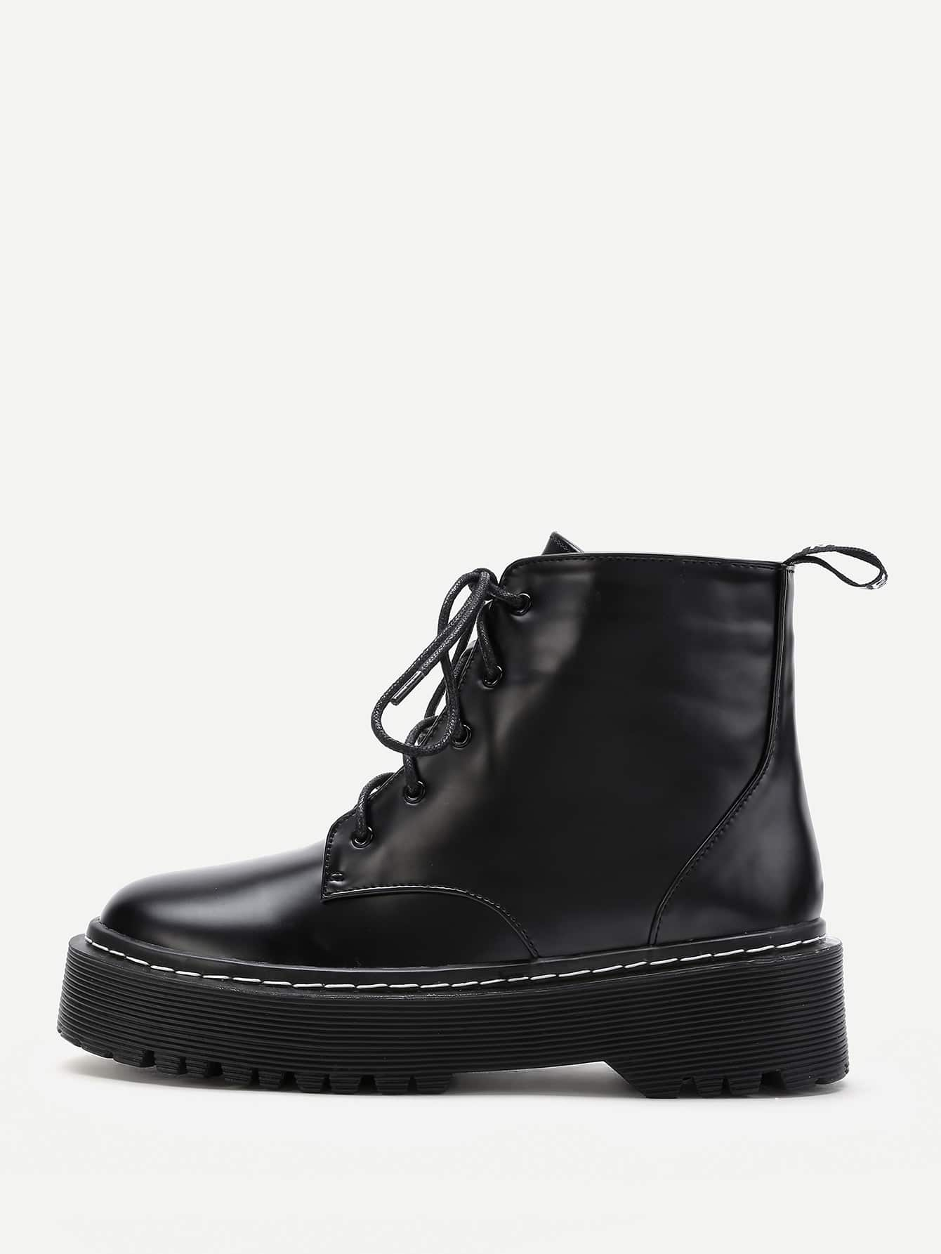 PU Lace Up Rubber Sole Short Boots