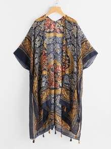 Kimono con estampado de damasco con borla