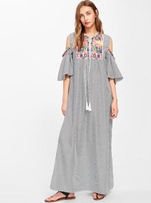 Aztec Embroidered Open Shoulder Tassel Tie Neck Pinstriped Dress