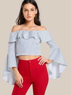 Exaggerate Fluted Sleeve Frill Bardot Top