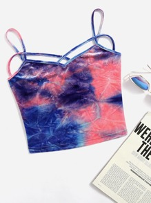 Top camisole in velluto tie-dye