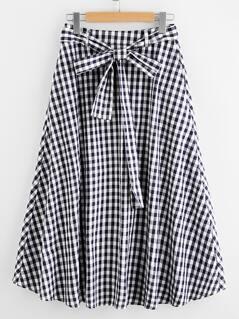 Tie Waist Hidden Pocket Gingham Skirt