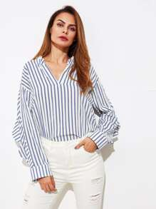 V-Neckline Vertical Striped Blouse