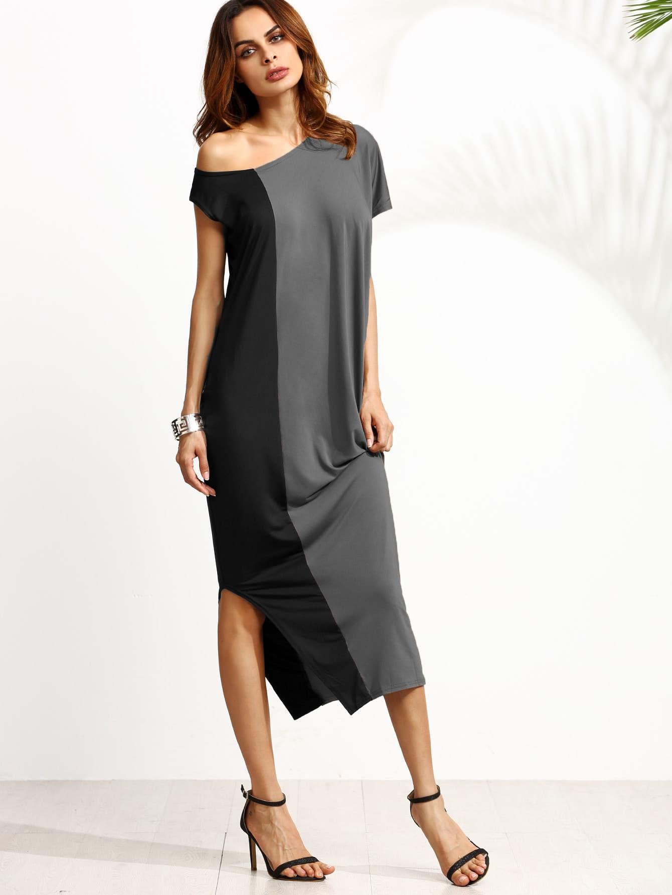 Two Tone Oblique Shoulder Split Dress two tone letter print full length dress