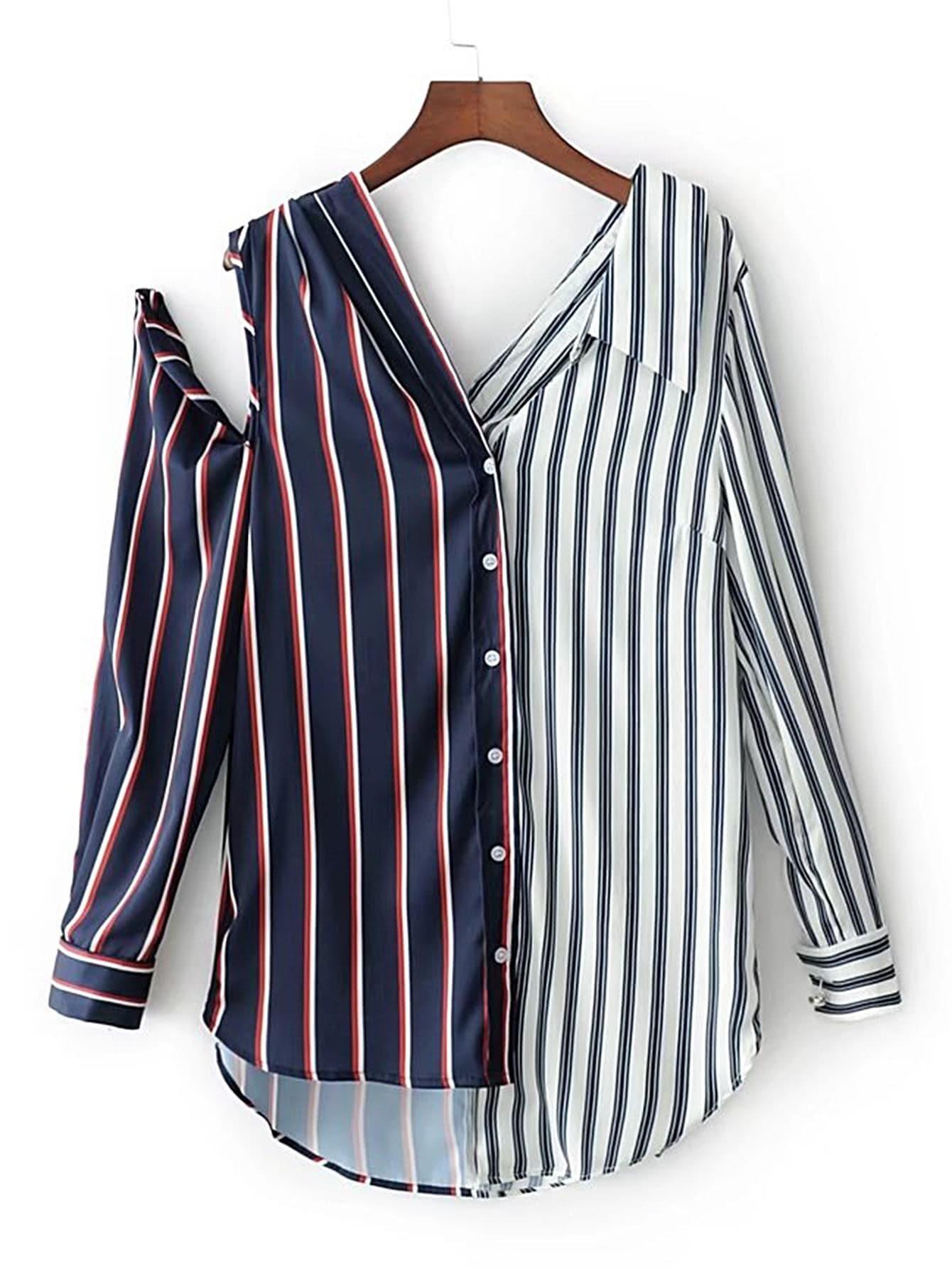 Фото Contrast Striped Open Shoulder Asymmetrical Blouse. Купить с доставкой