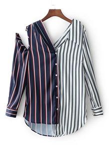Contrast Striped Open Shoulder Asymmetrical Blouse