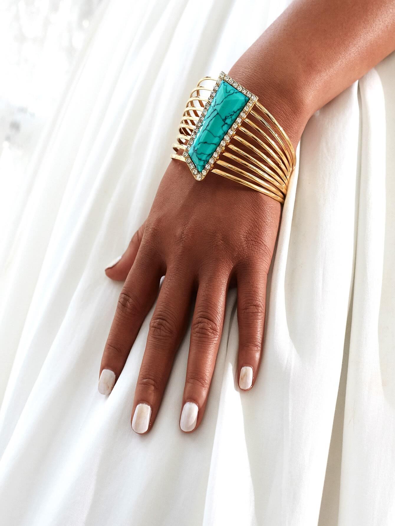 Фото Geometric Rhinestone Decorated Layered Bracelet. Купить с доставкой