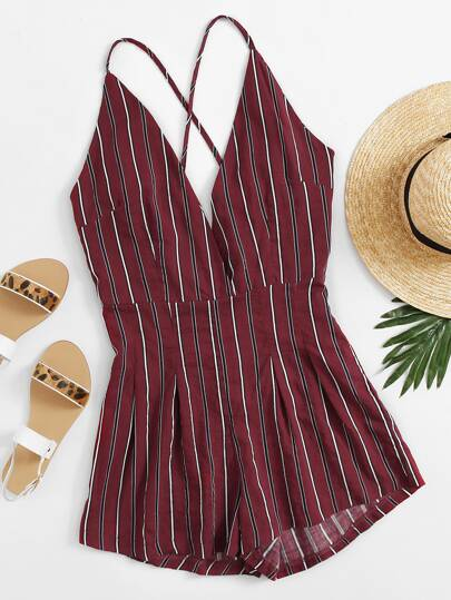 Plunging Crisscross Back Vertical Striped Romper