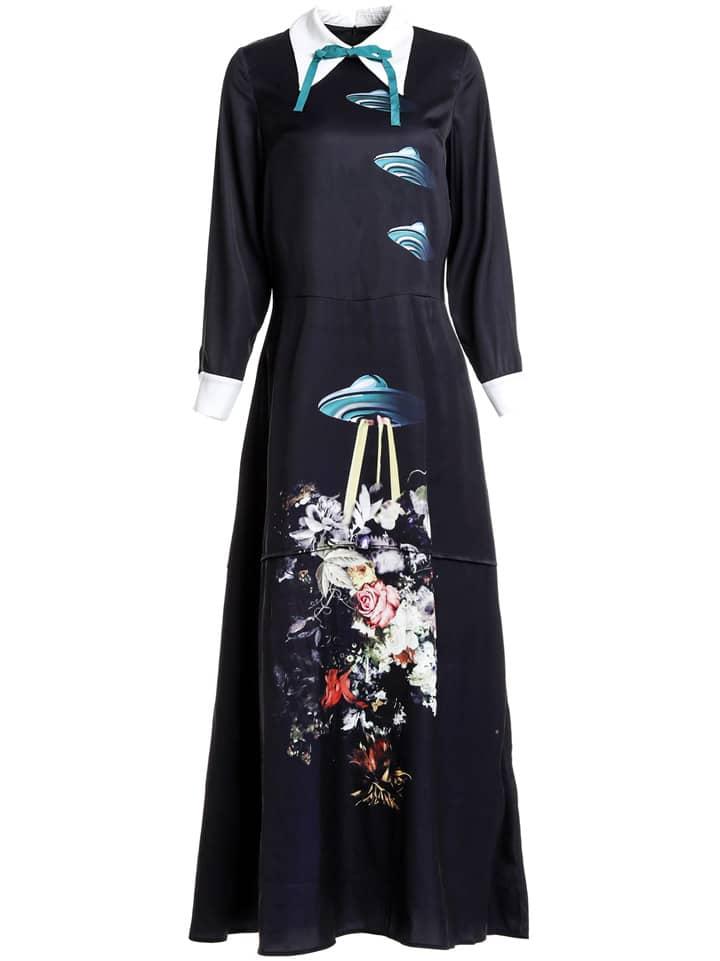 Фото Bowknot Airship Print Maxi Dress. Купить с доставкой
