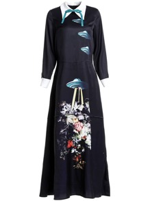 Bowknot Airship Print Maxi Dress