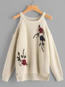 Beading Detail Flower Embroidered Staggered Jumper