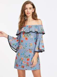 Frill Layered Fluted Sleeve Botanical Print Gingham Dress