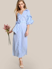 Single Shoulder Striped Split Hem Dress BLUE