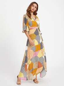 Patchwork Print Surplice Wrap Dress