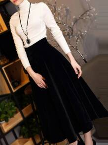 High Neck Sweater Top With Skirt