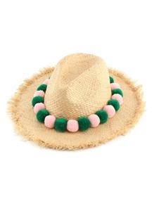 Pom Pom Design Straw Beach Hat